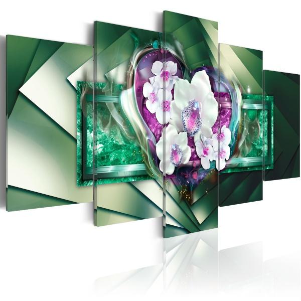 Obraz - W płomieniach - zieleń (100x50 cm) A0-N2958