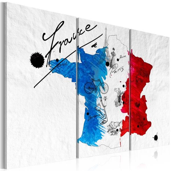 Obraz - Witamy we Francji! - tryptyk (60x40 cm) A0-N2109