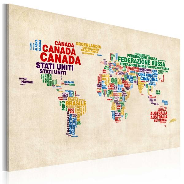Obraz - Włoskie nazwy państw w żywych kolorach (60x40 cm) A0-N2160