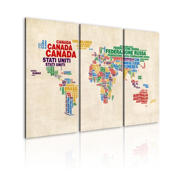 Obraz - Włoskie nazwy państw w żywych kolorach - tryptyk (60x40 cm) A0-N2111