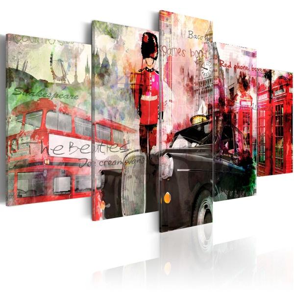 Obraz - Wspomnienia z Londynu - 5 części (100x50 cm) A0-N2750