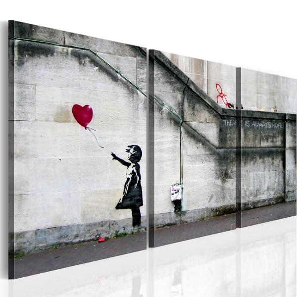 Obraz - Zawsze jest nadzieja (Banksy) - tryptyk (60x30 cm) A0-N1915