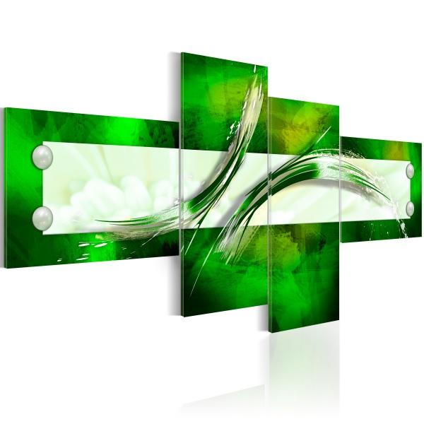Obraz - zielony  motyw abstrakcyjny (100x45 cm) A0-N2436