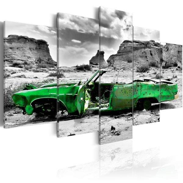 Obraz - Zielony samochód w stylu retro na Pustyni Kolorado (100x50 cm) A0-N2741