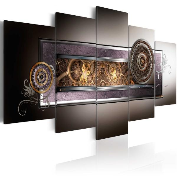 Obraz - Złote meandry w szarościach (100x50 cm) A0-N2993