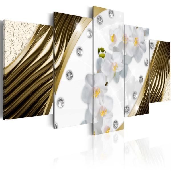 Obraz - Złote orchidee (100x50 cm) A0-N3512