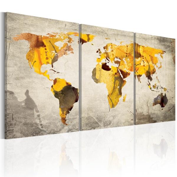Obraz - Żółte kontynenty (60x30 cm) A0-N2018