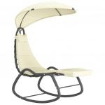 Ogrodowe krzesło bujane, kremowe, 160x80x195 cm, tkanina