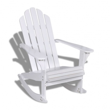 Ogrodowy Fotel Bujany Drewniany Biały