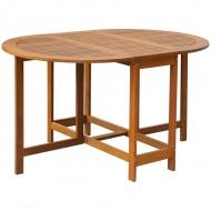 Owalny stół ogrodowy, obustronnie składany, z drewna akacjowego