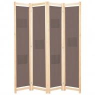 Parawan 4-panelowy, brązowy, 160x170x4 cm, tkanina