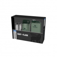 Piersiówka z 4 kieliszkami ADVENTURE - zielona / Stanley