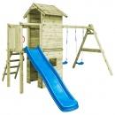 Plac zabaw z drabinką, zjeżdżalnią i huśtawkami, drewno FSC