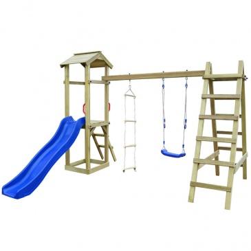 Plac zabaw ze zjeżdżalnią, drabinkami i huśtawką, drewno FSC
