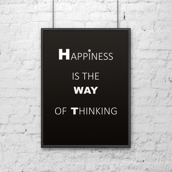 Plakat dekoracyjny 50x70 cm HAPPINESS IS THE WAY OF THINKING DekoSign czarny DS-PL1-1