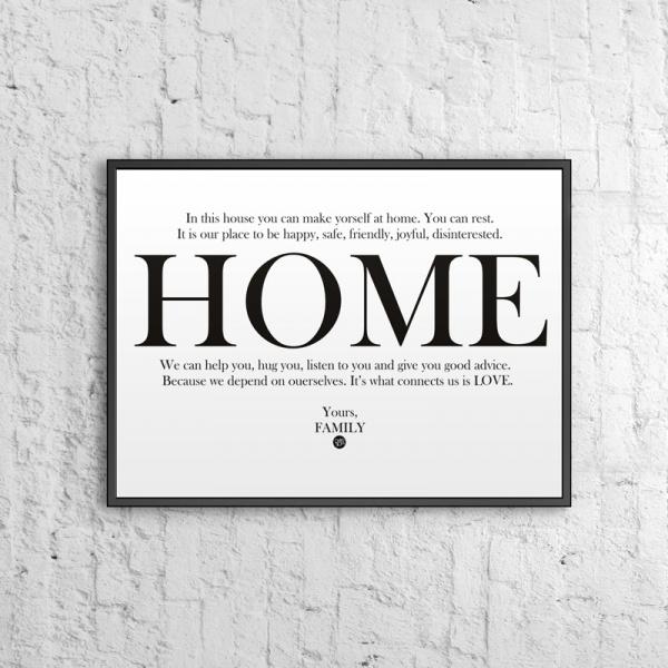 Plakat dekoracyjny 50x70 cm HOME DekoSign biały DS-PL12-0
