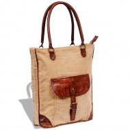 Płócienno-skórzana torba z kieszenią i klamrą