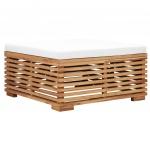 Podnóżek ogrodowy z kremową poduszką, lite drewno tekowe