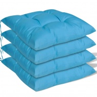 Poduszki na krzesła, 4 szt., 40x40x8 cm, niebieskie