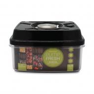 Pojemnik próżniowy z pompką PUMP FRESH 1,6 l płaski stalowo-czarny - Grunwerg