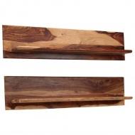 Półki ścienne, 2 szt., 118 x 26 x 20 cm, lite drewno sheesham