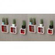 Półki ścienne kostki, 6 szt., biało-czerwone