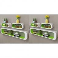 Półki ścienne kostki, 6 szt., zielono-białe