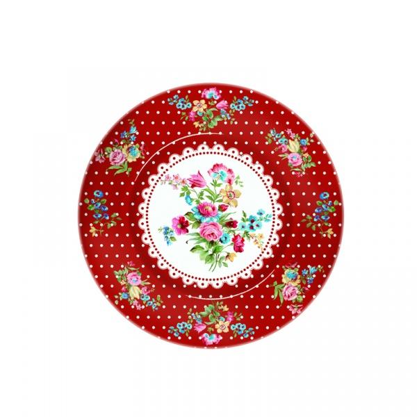 Półmisek szklany Nuova R2S Jardin Secret czerwony 945 JAFR