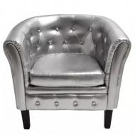 Półokrągły fotel ze skóry syntetycznej, srebrny