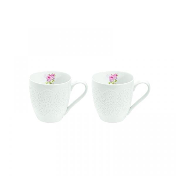 Porcelanowe kubki 2 szt. Nuova R2S La Belle Maison różowe piwonie 1022 RSE