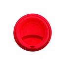 Porcelanowy kubek termiczny z czerwoną pokrywką