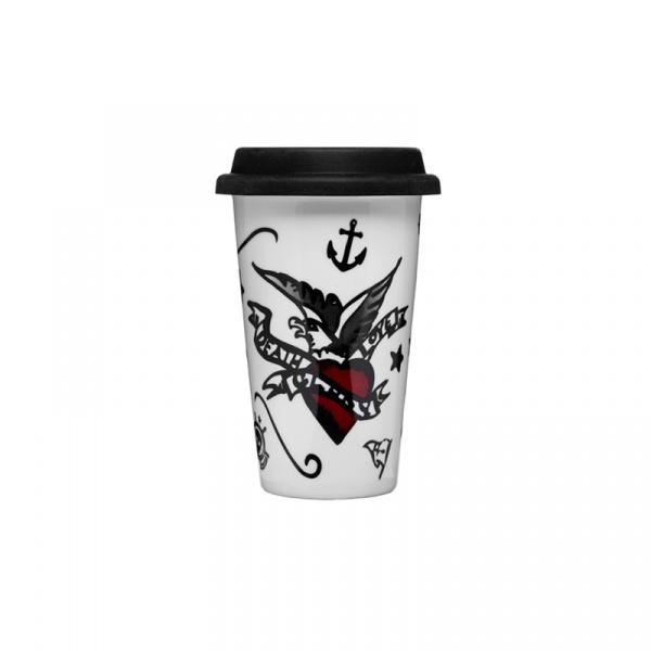 Porcelanowy kubek termiczny z pokrywką Tattoo 250 ml Sagaform Cafe  SF-5017102