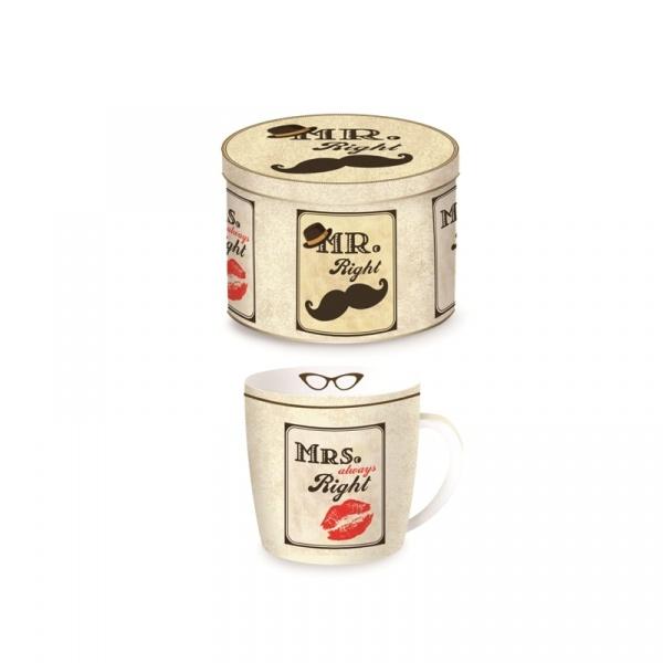 Porcelanowy kubek w blaszanym pudełku 350 ml Nuova R2S Happy Life 217 LIP