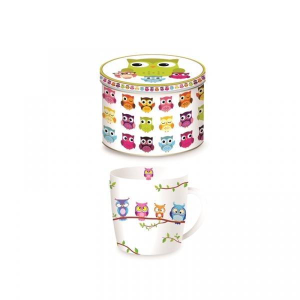 Porcelanowy kubek w blaszanym pudełku 350 ml Nuova R2S Happy Life 217 OWLB