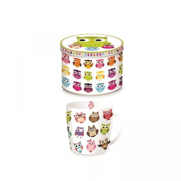 Porcelanowy kubek w blaszanym pudełku 350 ml Nuova R2S Happy Life 217 OWLF