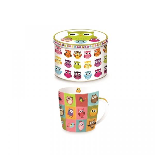 Porcelanowy kubek w blaszanym pudełku 350 ml Nuova R2S Happy Life kolorowe sowy 217 OWLC