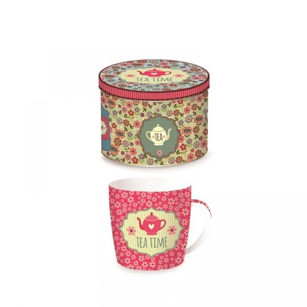 Porcelanowy kubek w blaszanym pudełku 350 ml Nuova R2S Happy Life różowy dzbanek 217 TEAP