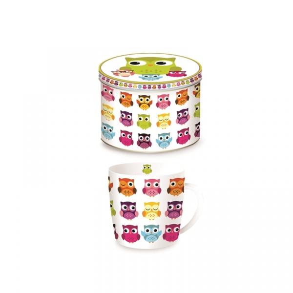 Porcelanowy kubek w blaszanym pudełku 350 ml Nuova R2S Happy Life sowy 217 OWLA
