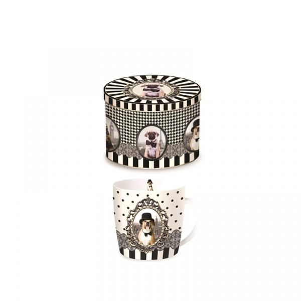 Porcelanowy kubek w blaszanym pudełku Nuova R2S Happy Life pies w kapeluszu 217 DOGC
