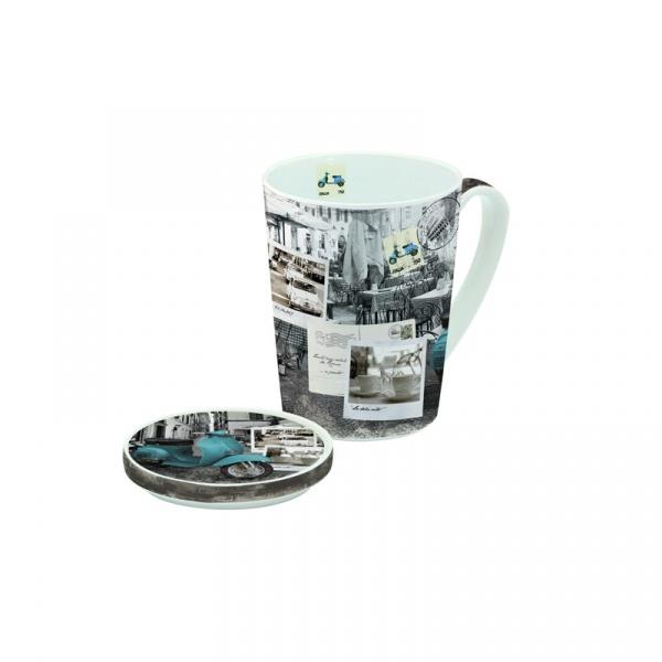 Porcelanowy kubek z przykrywką Nuova R2S Easy Life 220 DCV