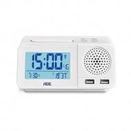 radiobudzik z funkcją ładowania telefonu, 14,5 x 8,5 x 7 cm, biały