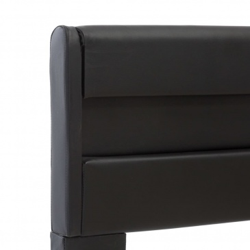 Rama łóżka z LED, czarna, sztuczna skóra, 90 x 200 cm