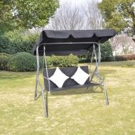 Rattanowa huśtawka ogrodowa z daszkiem, w czarnym kolorze