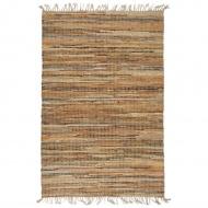 Ręcznie tkany dywan Chindi 80x160 cm, skóra i juta, jasny brąz