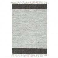 Ręcznie tkany dywanik Chindi, skóra, 80x160 cm, szaro-czarny
