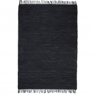 Ręcznie tkany dywanik Chindi, skórzany, 190x280 cm, czarny