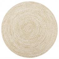 Ręcznie wykonany dywanik, juta, biały i naturalny, 90 cm