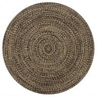 Ręcznie wykonany dywanik, juta, czarny i naturalny, 90 cm