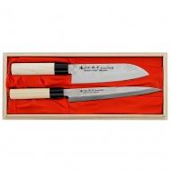 Satake Nashiji Natural Zestaw 2 noży Santoku+Sashimi