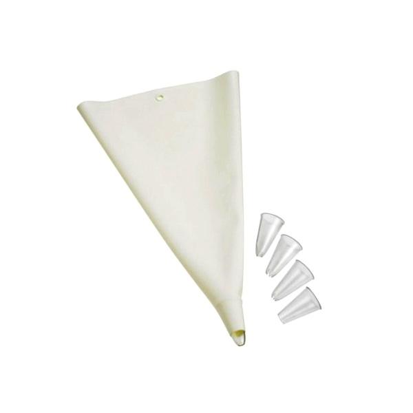 Silikonowy rękaw do dekoracji z czterema końcówkami Lurch biały LU-00070096